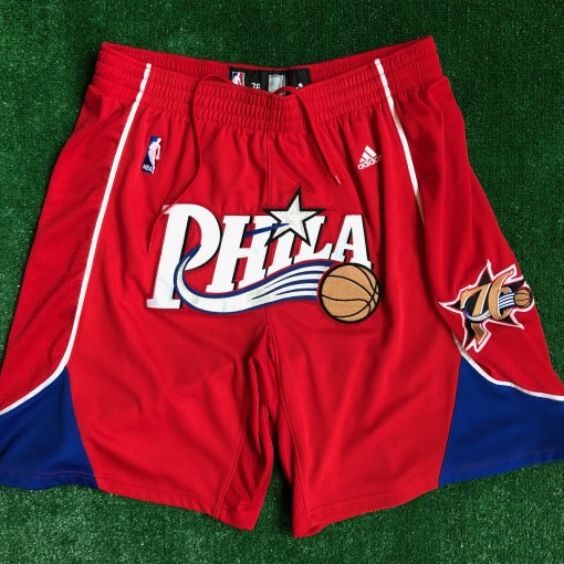 vintage 00's Philadelphia 76ers Sixers authentic Adidas NBA shorts DON C Just don style customs red alternate