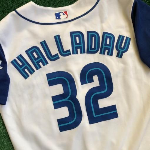 vintage roy halladay toronto blue jays majestic mlb jersey size 42