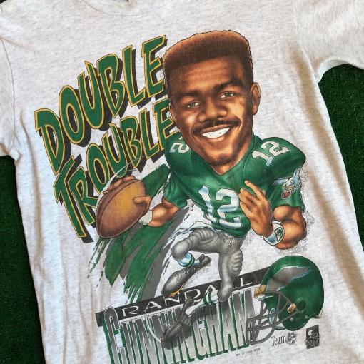 vintage 90's randall cunningham double trouble delta nfl t shirt size medium