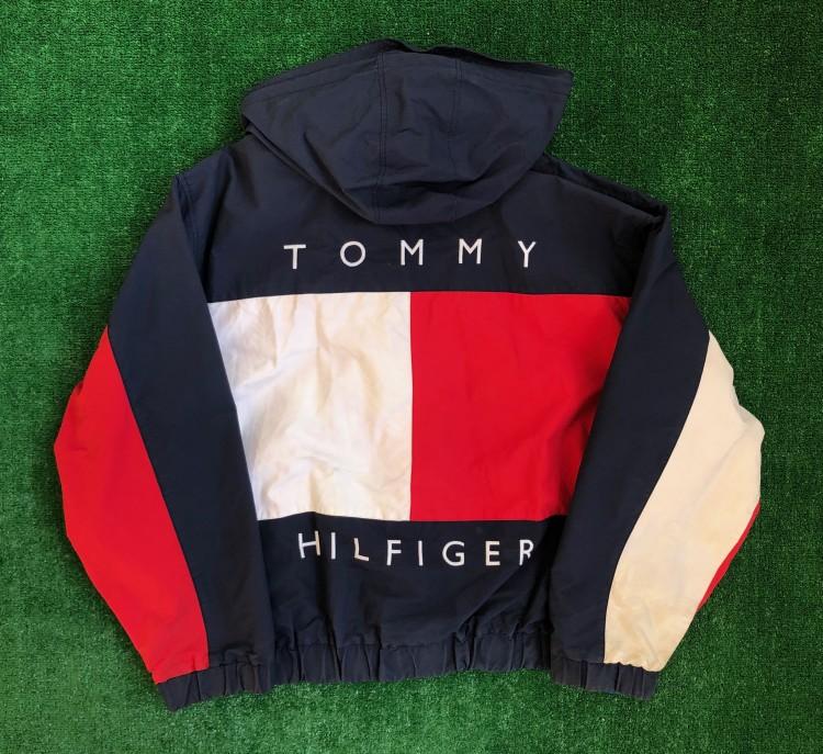 90's Tommy Hilfiger Big Flag Reversible Jacket Size XL