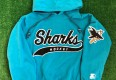 vintage 90's San Jose Sharks starter script nhl hoody sweatshirt youth size medium