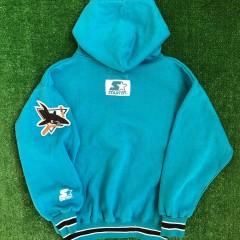 vintage 90's San Jose Sharks starter script nhl hoody sweatshirt youth size medium