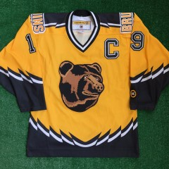 00s boston bruins joe thornton pooh bear yellow alternate koho nhl jersey size medium