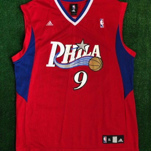 vintage andre iguodala philadelphia 76ers adidas red alternate nba jersey size xl