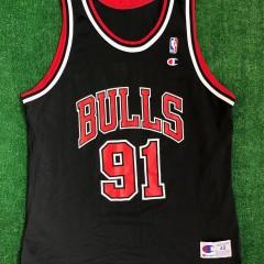 vintage 90s chicago bulls dennis rodman champion nba jersey size 48 xl