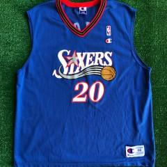 vintage 2001 eric snow philadelphia sixers 76ers champion nba jersey size 44 large