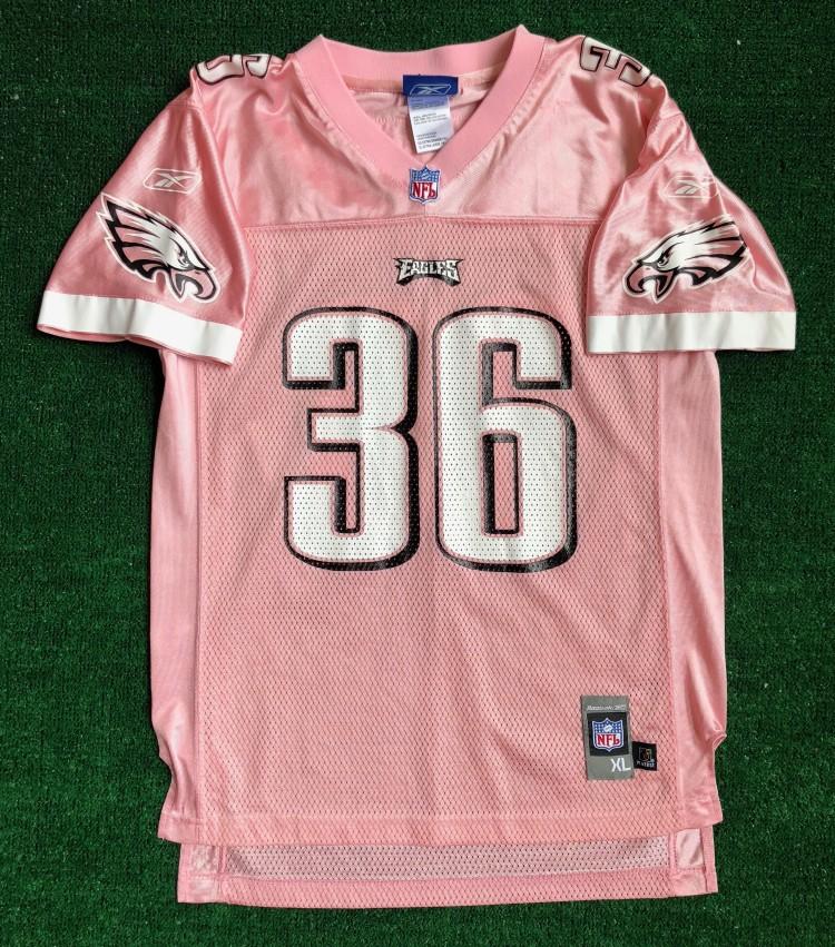 2004 Brian Westbrook Philadelphia Eagles Reebok Think Pink NFL Jersey Youth XL