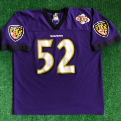 2000 Ray Lewis Baltimore Ravens Super Bowl XXXV Logo Athletic NFL Jersey