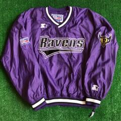 90's Baltimore Ravens Starter NFL Pullover Windbreaker Jacket Size Large