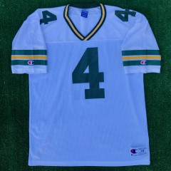 vintage brett favre green bay packers champion nfl jersey size 44 large