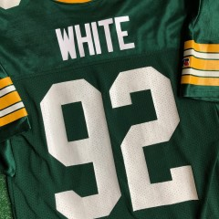 vintage 90's reggie white green bay packers russell nfl authentic jersey size 44 large