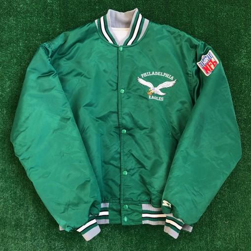 old school philadelphia eagles starter satin bomber kelly green buddy ryan jacket