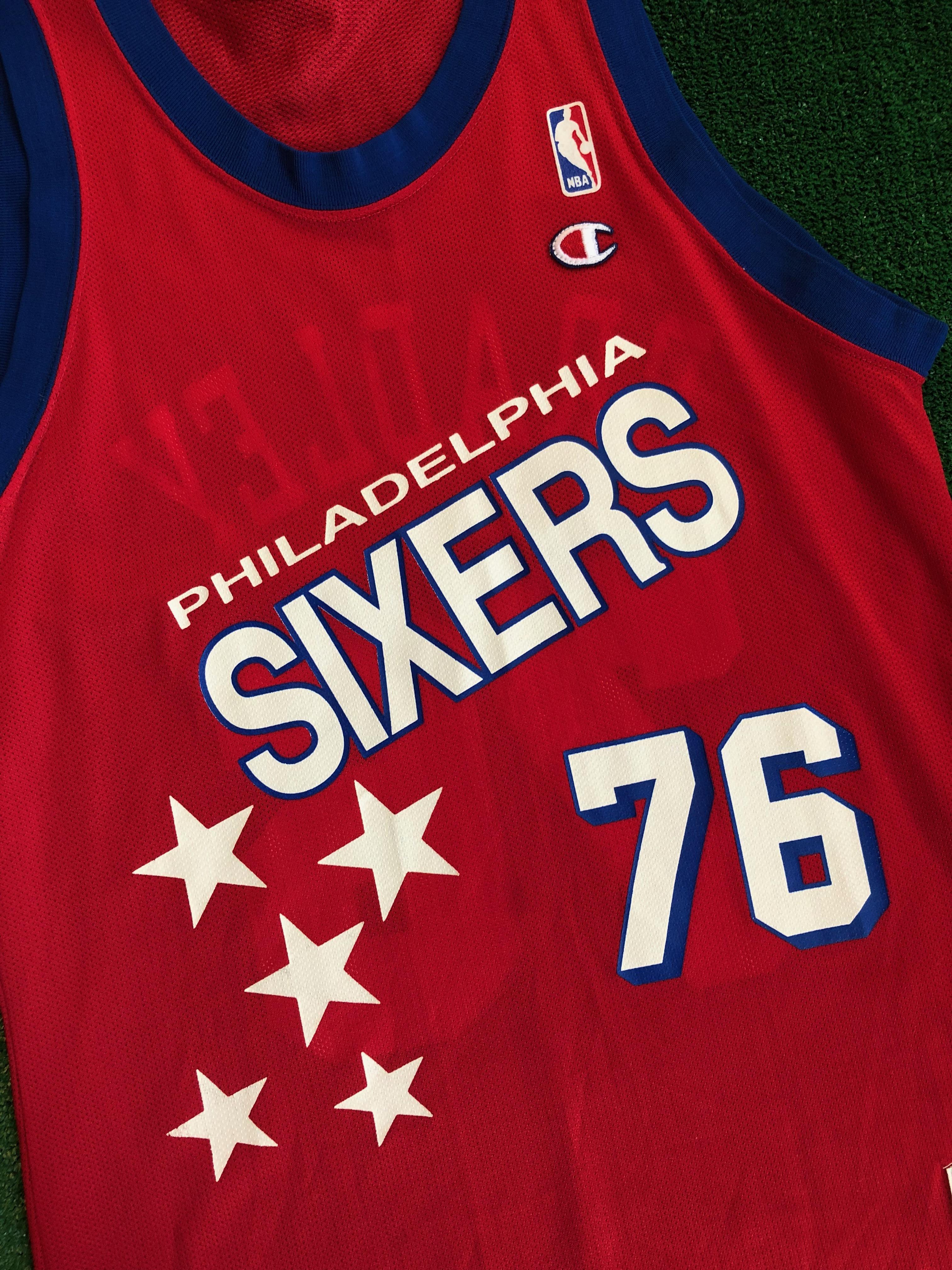 90\'s Shawn Bradley Philadelphia Sixers 76ers Champion NBA Jersey