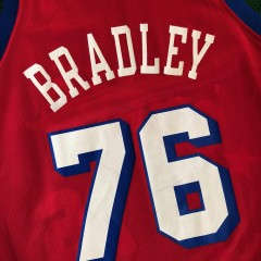 vintage 90's shawn bradley philadelphia sixers 76ers champion shooting stars nba jersey size 40 medium