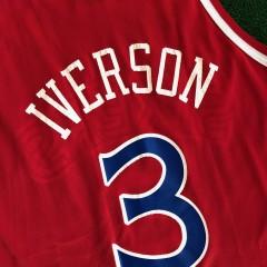 vintage 90's allen iverson philadelphia sixers 76ers champion rookie nba jersey size 48