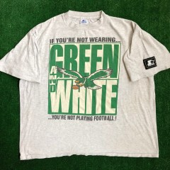 vintage 90's philadelphia eagles green and white starter nfl t shirt size XL