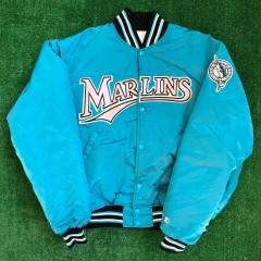 vintage 90s florida marlins starter satin mlb jacket size xl