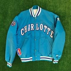 90's Charlotte Hornets Muggsy Bogues Custom Starter Satin NBA Jacket Size Large