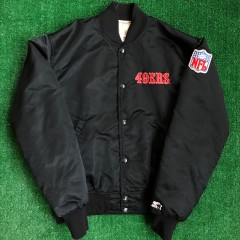 90's San Francisco 49ers Starter Black Satin NFL Jacket Size Medium