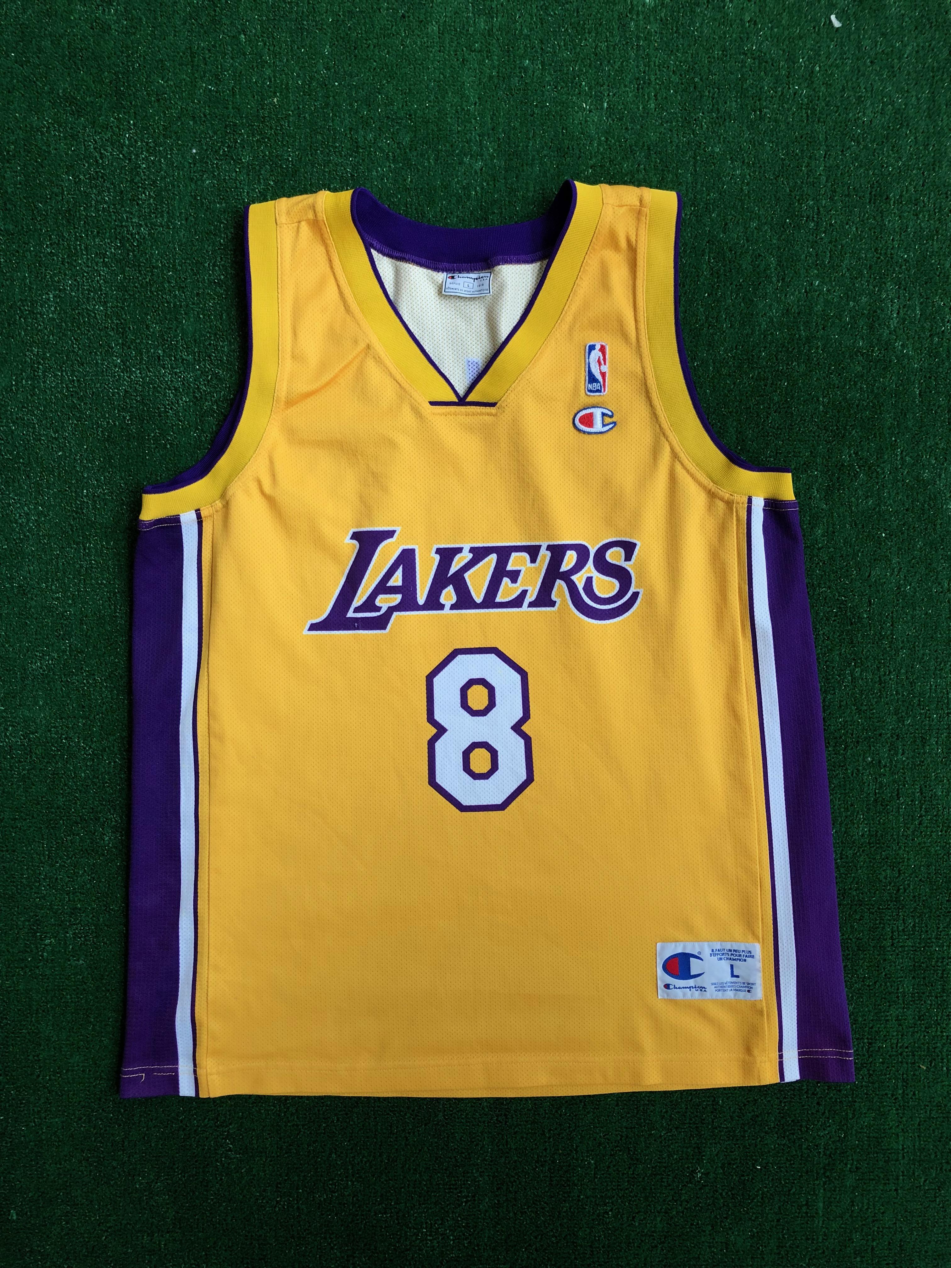 2001 Kobe Bryant Angeles Lakers Euro Cut Champion NBA Jersey Size Large